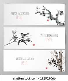 Banners with sakura, bamboo and bird in sumi-e style. Vector illustration. Traditional Japanese painting. Hand-drawn with ink. Sealed with decorative red stamp.