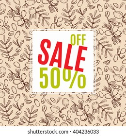Banners sale in eco-style in natural colors. Background pattern with argan tree in the style of hand-drawing