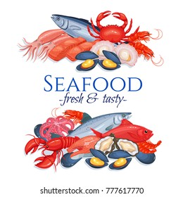 Banners seafood page design with mussel, fish salmon, shrimp. Lobster, squid, octopus, scallop, lobster, craps, mollusk or oyster, alfonsino and tuna for product market