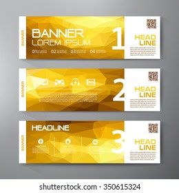 Banners set for business modern design. Polygonal geometric backgrounds. Vector and illustration