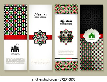 Banners set of etnic design. Religion abstract set of layout with ornament.