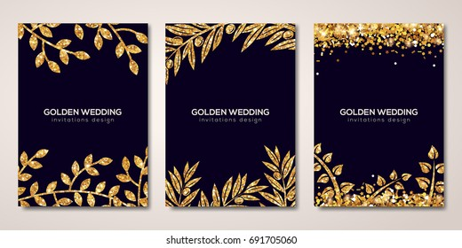 Banners set with gold floral patterns. Vector illustration. Flyer layout templates for wedding cards, save the date. Glittering premium vip design. Golden Olive branches decor