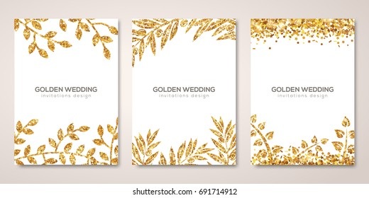 Banners set with gold floral patterns on white. Vector illustration. Flyer layout templates for wedding cards, save the date, business brochure design. Golden Olive laurel branches decor