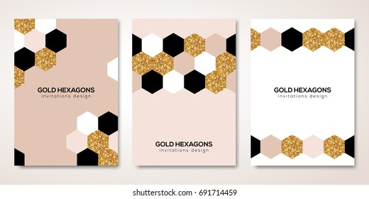 Banners set with gold geometric patterns. Vector illustration. Flyer design layout templates for wedding cards, business brochure, certificates. Golden hexagons decor