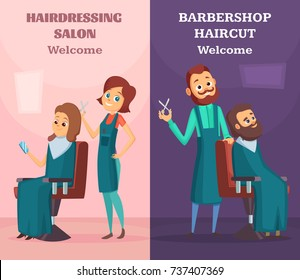Banners set with illustrations of hairdressers at work. Vector barber man and woman work in hair salon