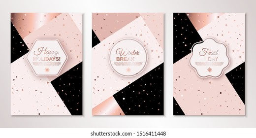 Banners set with nude confetti and frames with place for text on trendy pinkish patchwork backdrop. Vector flyer design templates for cards, brochures design, certificates. All layered and isolated
