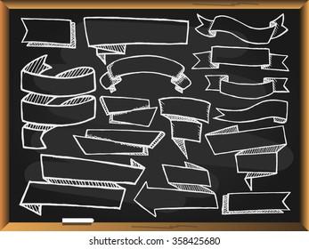 Banners set on blackboard background. Free hand drawn. Vector illustration.