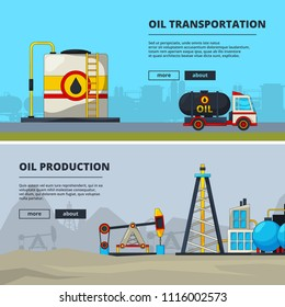 Banners set for petroleum industry. Oil production and transportation, extraction illustration vector