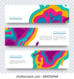 Banners set templates of multi layered color texture patter. Vector abstract modern paper cut design for web banner, landing, leaflet, poster