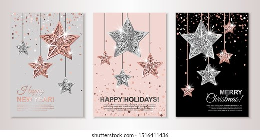Banners set of three sheets with hanging rose gold and silver stars. Vector flyer design templates for invitations, brochure design, certificates. All isolated and layered