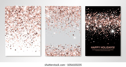 Banners set of three sheets with rose gold confetti. Vector flyer design templates for wedding, invitation cards, save the date, business brochure design, certificates. All layered and isolated