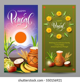 Banners set for traditional Indian festival Pongal. Makar Sankranti background. Vector illustration.