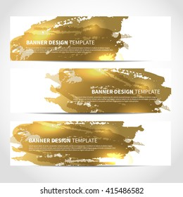 Banners. Set of trendy gold vector banners template or website headers with watercolor imitation background. Advertising banners with gold watercolor spots. Design for banner. card, header, background