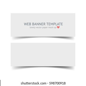 Banners with shadows isolated on white background. Realistic material vector illustration of paper strip. Web site header and banner set. Mock up for graphic designer portfolio presentation