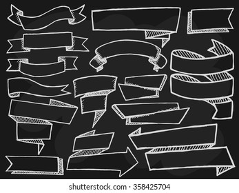 Banners with shadows set on black background. Free hand drawn. Vector illustration.