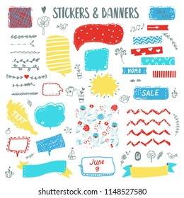 Banners and stickers funny doodle set with sketch elements. Vector graphic illustration