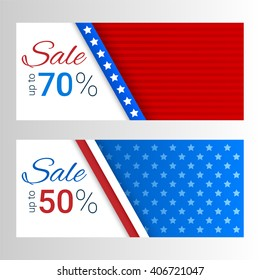 Banners with stripes and stars in colors of the American flag. Set of modern vector horizontal banners. Sale, discount theme.