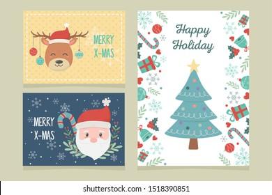banners tree deer santa claus celebration happy christmas