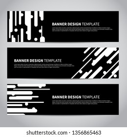 Banners vector design or headers web template with abstract trendy black and white monochrome background. Colorful Summer Vector design for your banners, headers, footers, flyers, cards etc.