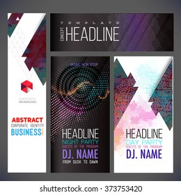 Banners vector template, brochure, element, page, leaflet, with colorful geometric triangular, dots and text composition, logo and text separately.