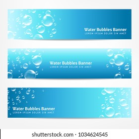 Banners with water bubbles, can illustrate cleanliness, freshness or summer diving in the sea