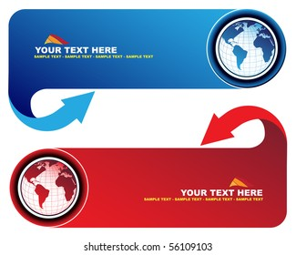 Banners with world map and arrow