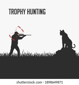 Banning trophy hunting concept. Vector. A hunter aims at a leopard (panther, cougar) solely for the sake of its canine. Save animals. Black illustration on a white background.