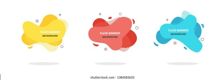 Bannners set. Modern Vector design. Flat geometric liquid shapes. Modern banner template for logo, flyer, presentation design. Yellow, red, blue colors