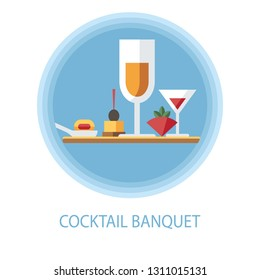 Banquet, cocktail party flat vector illustration. Catering serving, buffet. Snacks, appetizers with alcohol beverages clipart. Martini, champagne. Restaurant menu cartoon isolated design element