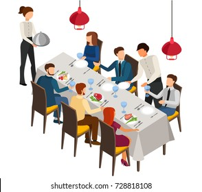 Banquet, dinner party, cafe, restaurant, the celebration. Vector illustration in isometric design.