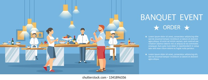 Banquet Event Hall, Center Banner Template. Lettering with Text Space. Wedding Catering. Restaurant Staff and Guests Cartoon Characters. Alcohol Drinks. Buffet Party Celebration Flat Illustration