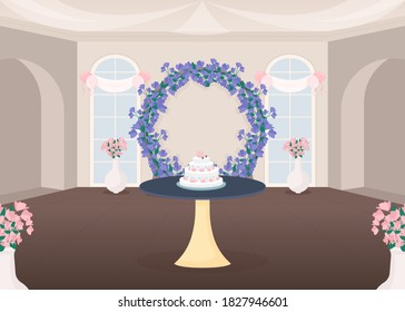 Banquet hall flat color vector illustration. Ceremonial arrangement. Cut wedding cake tradition. Bridal event. Wedding hall 2D cartoon interior with floral arch decoration on background
