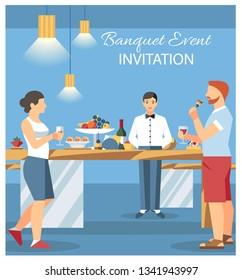 Banquet Invitation Card Flat Illustration. Guests at Banquet Party Drinking and Eating. Catering Service Waiter Working at Hotel Buffet. Eatery, Canteen. Woman and Man at Bar Counters. Flyer, Poster
