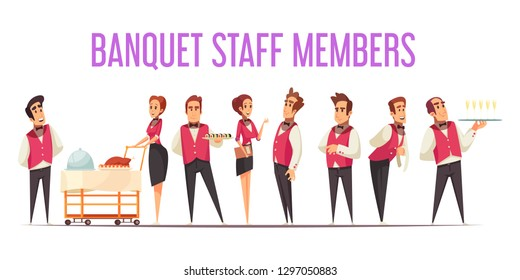 Banquet staff members in uniform with food at professional equipment on white background cartoon vector illustration