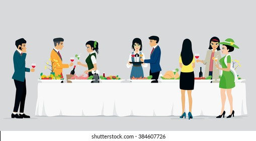 Banquets with men and women with gray background.