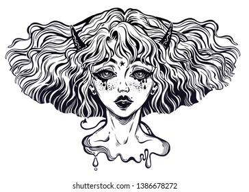 Banshee. Portrait of the crying demon folklore woman with wavy hairstyle and wind in her hair. Sad ghost with freckles and tears. Tattoo art, t-shirt design, adult coloring book page. Isolated vector.
