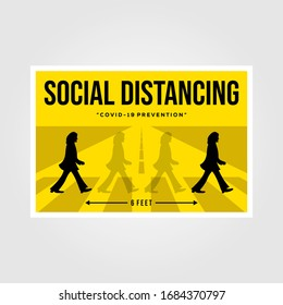 Banten, Indonesia, 27 March 2019: minimalist social distancing flat vector poster illustration design, the beatles inspiration