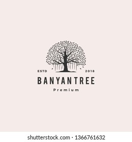 banyan tree logo vector icon illustration