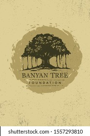 Banyan Tree Vector Sign. Creative Organic Natural Design Element On Rough Background.