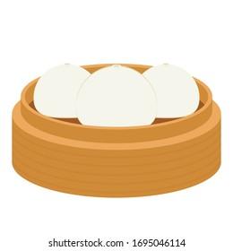 Bao vector. Steamed Bun character. Steamed Bun vector. Steamed Bun on white background.