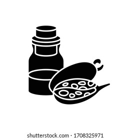 Baobab oil black glyph icon. Exotic african fruit essence for haircare. Liquid remedy. Natural cosmetic product for hair treatment. Silhouette symbol on white space. Vector isolated illustration