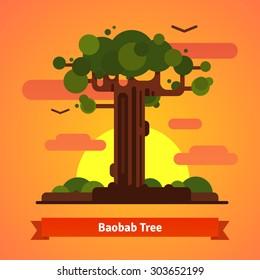 Baobab tree evening sunset scene. Isolated flat style vector background illustration.