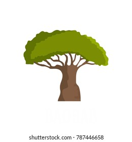Baobab tree icon. Flat illustration of baobab tree vector icon isolated on white background