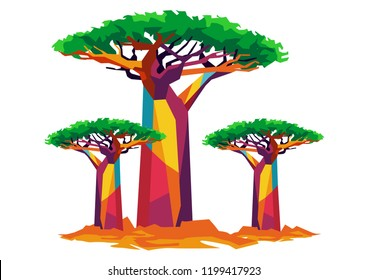 baobab tree for landscape or background on vector illustration