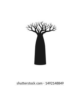 Baobab tree silhouette.  simple flat vector illustration
