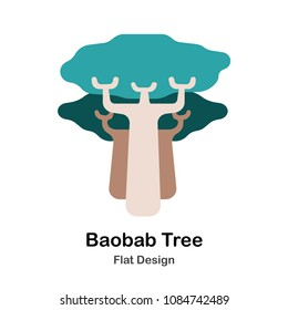 Baobab trees flat illustration