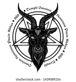 Baphomet demon goat head hand drawn print or blackwork flash tattoo art design vector illustration. Latin inscription translation - father of the temple of peace of all men