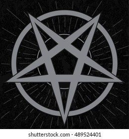 Baphomet sign. Stylish pentagram in star rays with grunge background. Satanic symbol.
