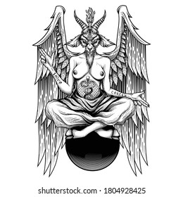 Baphomet. Vector illustration in engraving technique of demon with goat head, wings and woman body who sitting on sphere. Satanic, occult symbol. Isolated on white background.
