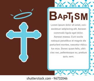 Baptism Card with Angel Cross